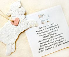 12 Seed Paper Lamb Baptism Favors Baby Shower by recycledideas