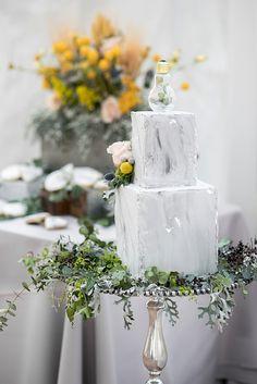 Concrete inspired wedding cake