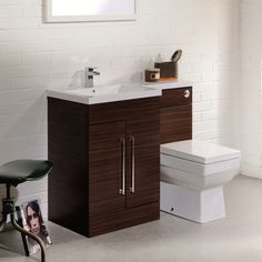 Valencia Walnut Combination Basin and WC Unit - ideal for cloakrooms or en-suites. It's trendy walnut finish would give any bathroom a touch of luxury. Compact Bathroom, Small Bathroom, Bathrooms, Concealed Cistern, Back To Wall Toilets, Basin Unit, Under Sink Storage, Walnut Furniture, Walnut Wood
