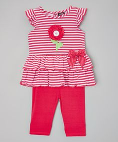 Fuchsia Floral Stripe Tunic & Leggings - Infant & Girls