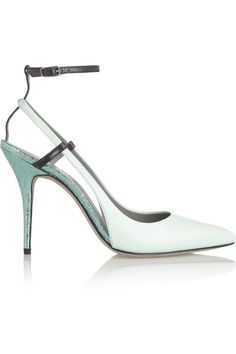 Foil-trimmed textured-leather pumps | Alexander Wang | THE OUTNET