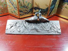 Japanese Pewter Kissing Pigeons Shodo Calligraphy 文鎮 Bunchin Paper Weight Japanese Calligraphy, Paper Weights, Pigeon, Kissing, Pewter, Chinese, Unique Jewelry, Handmade Gifts, Painting