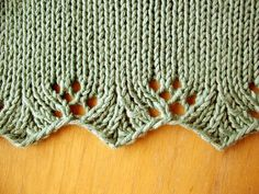 Ravelry: Vaguely Reminiscent pattern by Julia Tricenice, simple, elegant lace edge: Yes! would love to see this on the end of cuffs or skirts! beautifully integrated by madelyn Knitting Stiches, Crochet Stitches, Knitting Patterns, Knit Crochet, Crochet Patterns, Sock Knitting, Crochet Borders, Tunisian Crochet, Knitting Machine