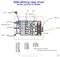 Printed circuitboard layout for 4069 latching relay switching schematic by R.G Keen. Circuit Diagram, Layout, Technology, Guitar Pedals, Diy, Scale, Boxes, Printed, Music