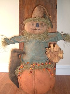 Primitive Scarecrow and Pumpkin Doll by diamondcreekprims on Etsy, $68.00