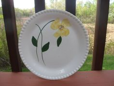 Blue Ridge, Early Blossom Pattern, Yellow Flower, Luncheon Plate, 9 1/2 Inches
