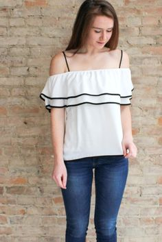 Corinne Ruffle Tank - white #affordable-off-the-shoulder-top #affordable-summer-clothing #Black