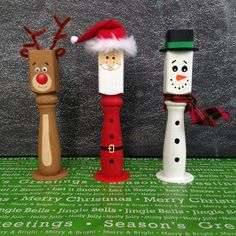 Christmas Wood Spindle or Baluster Trio Santa, Snowman, Reindeer by FunkiPunkiDesigns on Etsy