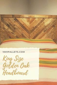 I built this king-size chevron style headboard for someone who had purchased some pallet wood items from me in the past. They wanted it stained golden oak Pallet Furniture Plans, Pallet Furniture Designs, Furniture Ideas, Pallet Bed Frames, Pallet Dog Beds, Reclaimed Wood Beds, Pallet Wood, Pallet Benches, Pallet Tables