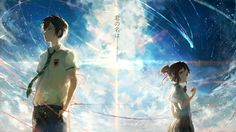 Your Name. Taki and Mitsuha Anime Sky Comet Wallpaper