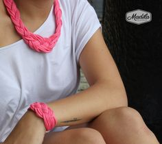 Pink Necklace and bracelet, crochet with tshirt yarn and beads #handmade #crochet #trapillo Recycled fabrics https://www.etsy.com/uk/listing/199535877/various-colours-cordelia-set-bracelet?ref=shop_home_active_14