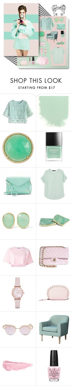 """Mint & pink :))"" by maurycamillee ❤ liked on Polyvore featuring Chicwish, Irene Neuwirth, Butter London, Apt. 9, 360 Sweater, Pippa Small, RabLabs, Steve J & Yoni P, Chanel and Emporio Armani"