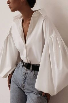 White Casual Puff Sleeve Button Up Shirt - Moda Mode Outfits, Trendy Outfits, Fashion Outfits, Fashion Tips, Fashion Shirts, Mode Turban, Black Button Up Shirt, White Button Up, Button Up Shirts