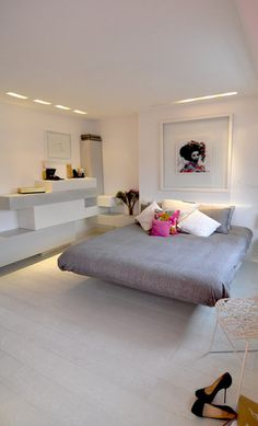 Contemporary Feminine Bedroom Design with Grey Modern Platform Bed