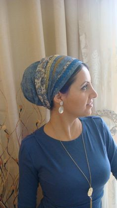 Love this look - tichel or turban with earrings and a simple, long necklace over…