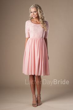 Modest A Line Sweetheart Short Sleeves Blush Pink Chiffon Lace Party ... 955363609d5e