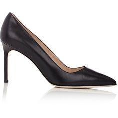 Manolo Blahnik Women's BB Pumps (£450) ❤ liked on Polyvore featuring shoes, pumps, black, black slip-on shoes, pointed toe pumps, slip on shoes, black pumps and black leather pumps