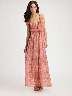 Joie - Semi-Sheer Floral-Print Silk Maxi Dress - Saks.com
