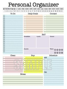 Personal Organizer, EDITABLE, Daily planner page
