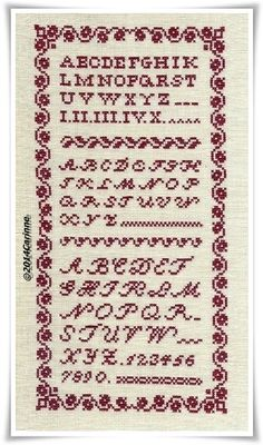 Classic Sampler by Carinne. Another freebie ♥ Thank you ♥ Really love the border on this, maybe use with a simple verse instead of ABCs.