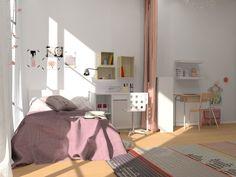 Chambre filles, image virtuelle 3D