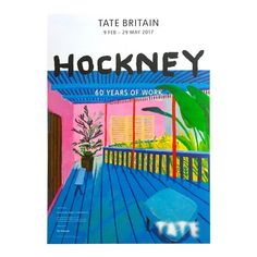 David Hockney Rare Lithograph Print Tate Museum 60 Years of Work Exhibition Poster Art Exhibition Posters, Museum Exhibition, Art Museum, Design Museum, David Hockney, Museum Poster, Tate Britain, Poster Prints, Books