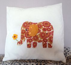 Cushion cover with appliqued fabric elephant by JakeandBianca, £8.00
