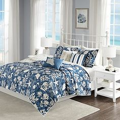 Madison Park Full/Queen 6 Piece Cotton Sateen Coverlet Set in Blue - Olliix your bedroom with the coastal style of the Madison Park Cape Cod 6 Piece Cotton Sateen Coverlet Set. Charming coastal motifs adorn the beautiful blue quilted cove Queen Comforter Sets, Bedding Sets, Bedding Decor, King Duvet, Queen Duvet, Taupe Comforter, Unique Bedding, Cape Cod, Console
