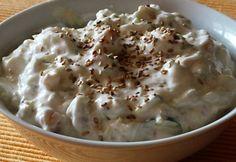 Csicseriborsós tzatziki Tzatziki, Mashed Potatoes, Ethnic Recipes, Food, Whipped Potatoes, Meal, Essen