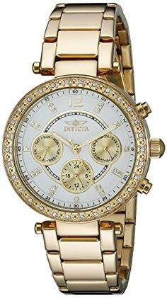 Women's Wrist Watches - Invicta Womens 21387 Angel 18k Gold IonPlated Stainless Steel Bracelet Watch * Click image for more details.