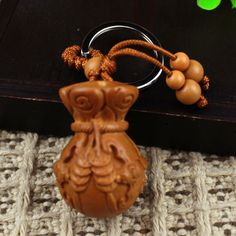 Mahogany Carving The God of Wealth Chinese Characters Car/Bag/Purse Key Ring Pendant Keychain Amulet Pendant All The Best