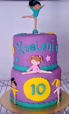 Gymnastics Birthday Cakes Party Cake Girls 11th Gym Ballerina Sweets Fondant Decorations Mouse