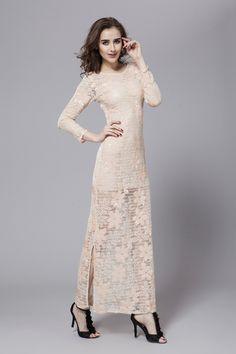 $149.89 Sheath Column Scoop Neckline Floor Length Lace dress -Evening Dresses-DeniseDress