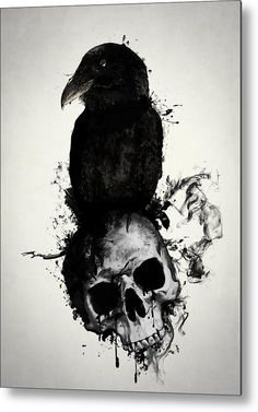 Raven and Skull by Nicklas Gustafsson . - Raven and Skull by Nicklas Gustafsson - Skull Tattoos, Body Art Tattoos, Tattoo Drawings, Sleeve Tattoos, Cool Tattoos, Bird Skull Tattoo, Dark Tattoos For Men, Black Crow Tattoos, Skull Drawings
