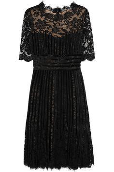 Oscar de la Renta Velvet-trimmed lace dress