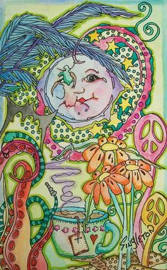 Luna Tea Party, Singleton Hippie Art