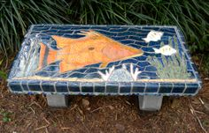 Mosaic Hogfish concrete garden bench