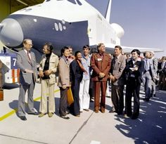 The Star Trek cast visiting the Space Shuttle Enterprise