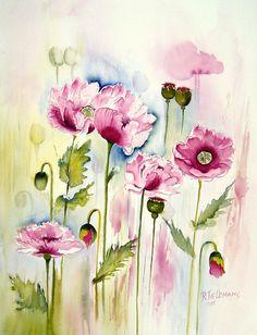 Roze Papavers, aquarel van bloemen