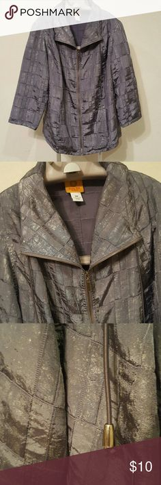 Ruby Rd Silver Zip up jacket with pockets This jacket is so awesome. Zip it up or leave it open for different looks. Silver shine is losing its shimmer, but the jacket is just as great. Two front pockets, GUC, approximate measurements in listing Ruby Rd. Jackets & Coats