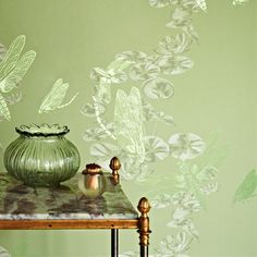 Delicate Green & White Insects Wallpaper with Green Glass Vase ....