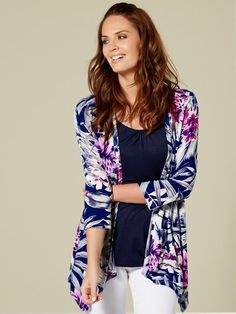 M&Co. Women Tropical two in one cardigan