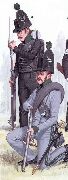 """Ceux en gris avec sur leur chapeau l'insigne du cheval, nommé """"Jäger Gelernte"""", formation de base du bataillon. Et ceux en noir avec sur le chapeau l'insigne d'un cor, formaient deux compagnies légères. Brunswick"""