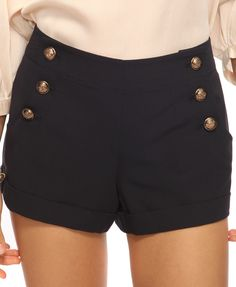 Cuffed Sailor Shorts in Navy