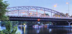 Freybrücke spans the Havel River in Spandau, Berlin, Germany