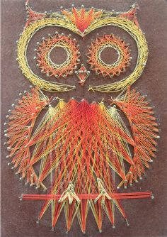 woodland creatures + orange + string art = looking awesome on your cabin's wood paneling! owl string art by veesvintage on etsy.
