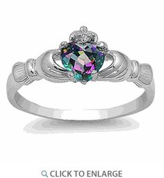 Silver Rainbow Topaz CZ Claddagh Ring.  Amazing price!