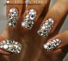 rhinestone nails - this is a lil much i would just do one accent nail!
