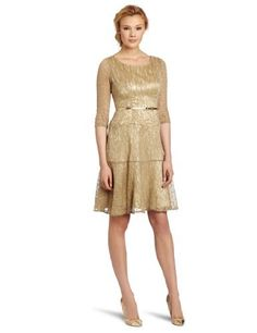Reviews Evan Picone Women's Knit Scoop Neck 3/4 Sleeve Fit and Flare, Gold, 4