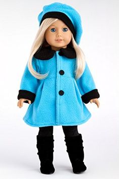 Parisian Stroll - Blue fleece coat with matching beret, black leggings and boots - 18 Inch American Girl Doll Clothes  Price : $28.97 http://www.dreamworldcollections.com/Parisian-Stroll-matching-leggings-American/dp/B00FI6W7XY
